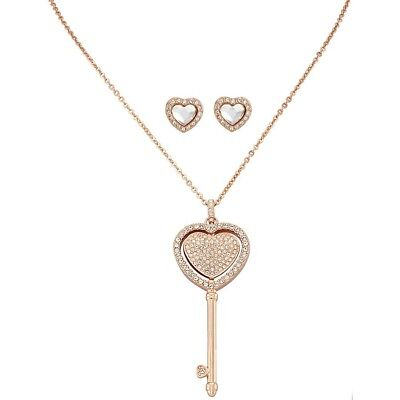 Swarovski Rose Gold Plated Heart Key Necklace And Earring Set Brand New 768549906671 Ebay