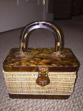 Vintage Lucite Wicker And Tortoise Shell  Basket Purse - 50s 60s Hong Kong