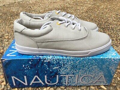NEW Nautica Deck Shoes Mid Men/'s Navy Blue White Canvas /& Nylon Boat NM259F
