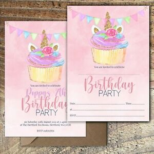 BIRTHDAY-INVITATIONS-Unicorn-Cupcake-Party-Personalised-or-Blank-Any-Age-PK-10