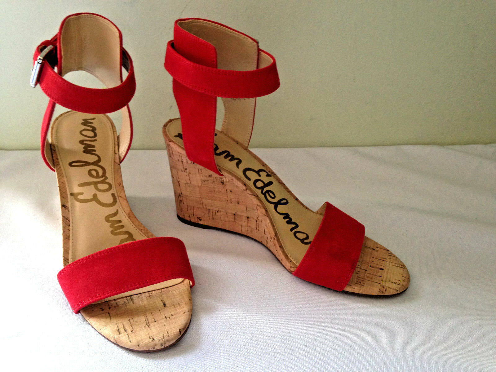 l'ultimo NEW Sam Edelman rosso Suede Leather WILLOW Wedge Open Open Open Toe Sandals 8.5 M  140  per il commercio all'ingrosso