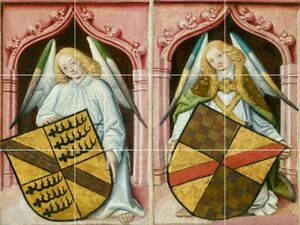 24-034-X18-034-Tile-Medallion-coats-of-arms-shield-guardian-angels-antique-painting