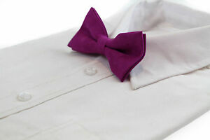 MENS-VELVET-MAGENTA-BOW-TIE-Pretied-Adjustable-Wedding-Formal-Pink-Purple-Suede