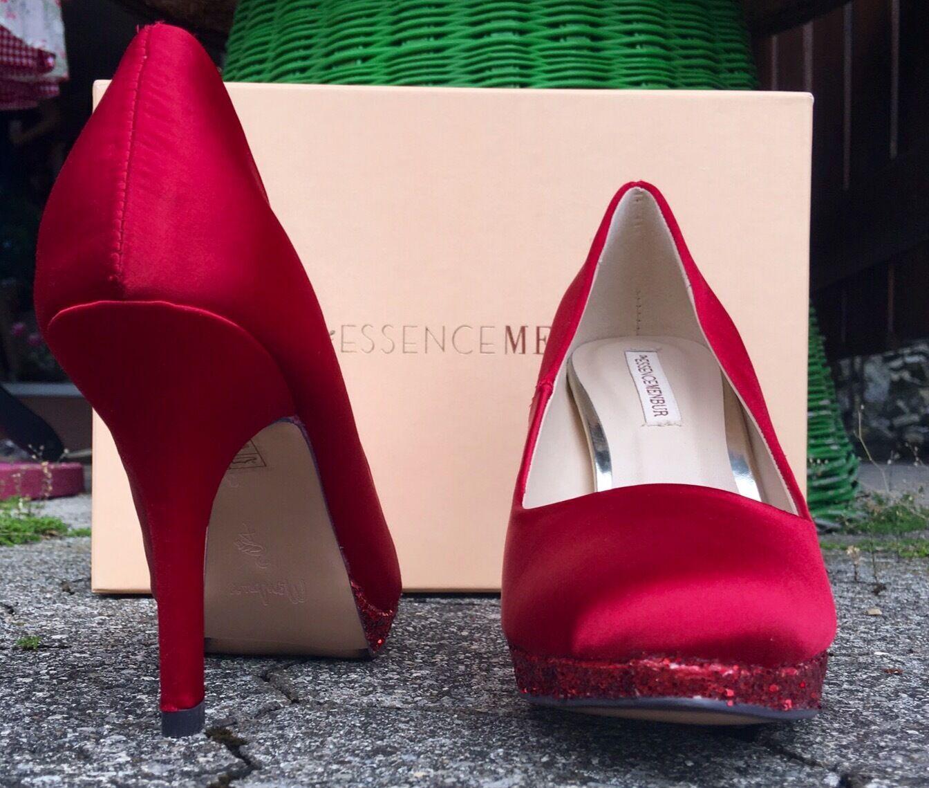 Pumps, Stilettos Gr. 40, rot, satin, glänzend Essence Menbur, Glitzer Schuhe, glänzend satin, ea26ef