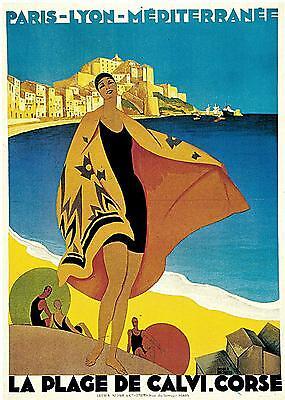 CALVI, Corsica, France. Vintage Art Deco Travel Poster   A1,A2,A3,A4 Sizes
