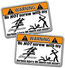 Pair Funny Hayabusa Suzuki Motorcycle Warning Vinyl Decal Stickers Graphics Bike