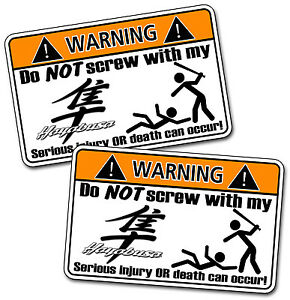 Pair Funny Hayabusa Suzuki Motorcycle Warning Vinyl Decal Stickers - Stickers for motorcycles suzuki