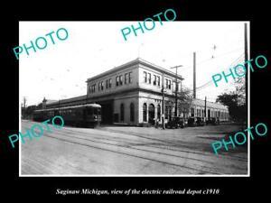 OLD-LARGE-HISTORIC-PHOTO-OF-SAGINAW-MICHIGAN-THE-ELECTRIC-RAILROAD-DEPOT-c1910