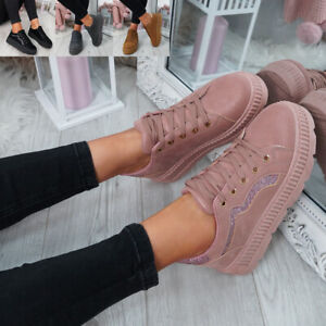 WOMENS-LADIES-LACE-UP-PLATFORM-TRAINERS-PLIMSOLL-SKATE-SNEAKERS-SHOES-SIZE