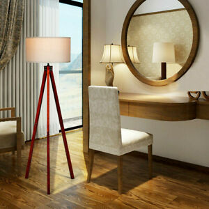 Details About Modern Wooden Tripod Floor Lamp W Foot Switch Living Room Bedroom Decoration