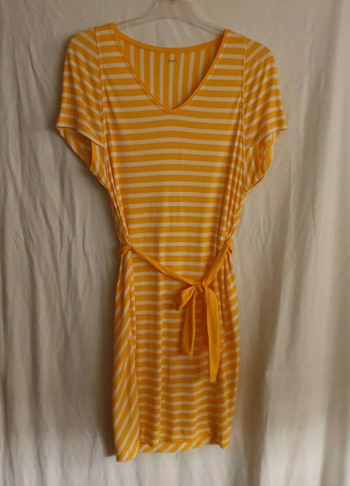 Marc Cain Minikleid   T-Hemd-Kleid Orange Weiß Gestreift Gr. N3  Gr. 38