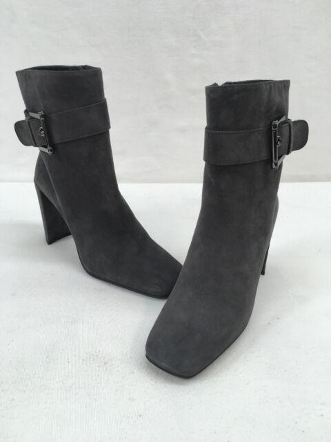 Stuart Weitzman Snapback Slate Suede Square Toe Ankle Boots Size 6M  F6651/