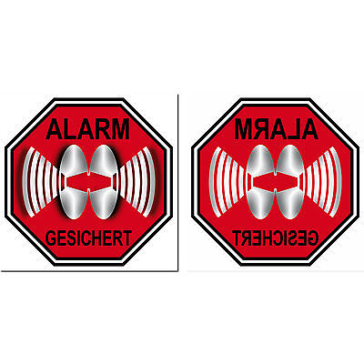 Aufkleber 10cm rot Alarm Gesichert Set für Innenseite Fester Tür Glas Scheibe