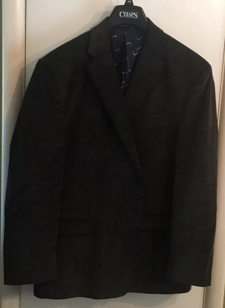 Chaps Sport Coat Size 46R Dark Brown Corduroy Elbow Patches Worn Once Mint