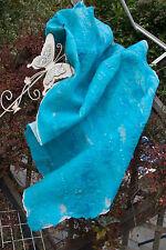 L Schal Stola Nunofilz Handarbeit Merino Wolle auf Seide türkis bla, 130 cm NEU