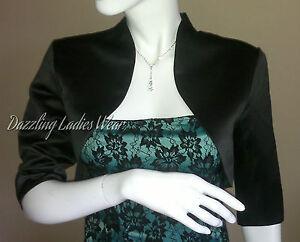 Black-Satin-Bolero-Shrug-Jacket-Stole-Tippet-Shawl-Wrap-3-4-Sleeves-UK-4-26