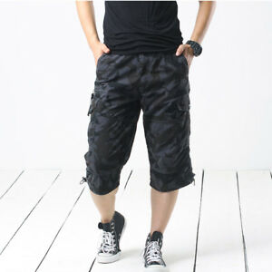 a5a89636a5 Men Camouflage Cargo Shorts 3/4 Length Pants Loose Casual Trousers ...
