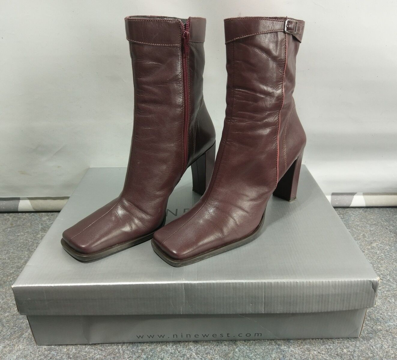 NINE WEST 'Wine' Leather High Heel Ankle Boots UK Size 7  A