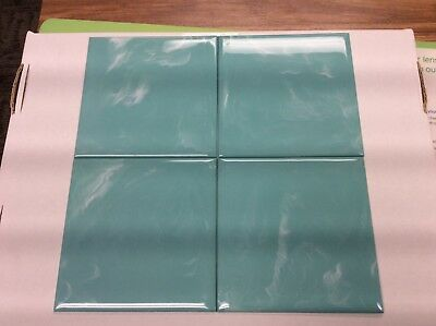 "NEW VINTAGE RETRO MARBLED AQUA GREEN PLASTIC 4-1//4"" WALL TILE BEVEL-RITE NOS"