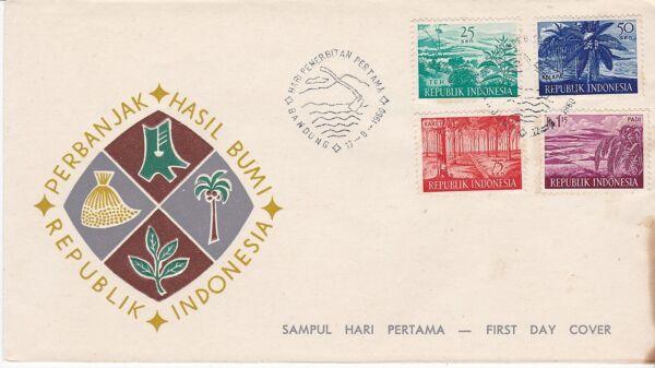 Bien First Day Cover, Indonésie, Scott #498-501, Produits Agricoles, 1960