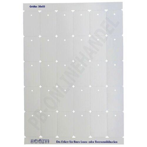 BOGETI Kartonetiketten 35x53mm auf DIN A4-Bogen Stückwarenanhänger Kartonetikett