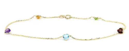 14K Yellow Gold Anklet With Heart Shaped Multi Color Cubic Zirconia 9.5 Inches