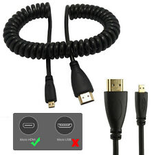 HDMI to HDMI Micro Coiled Spiral Spring Cable Lead Cord Wire 1080p - Free Ship!