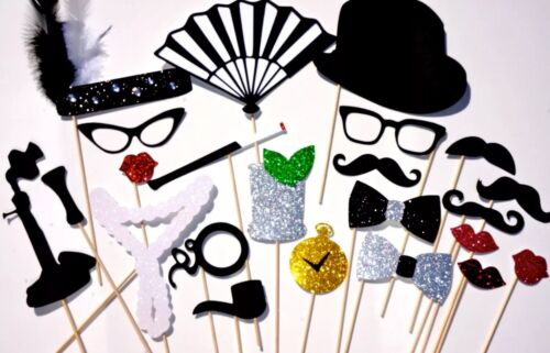 Roaring 20's Great Gatsby Photo Props ~ Set of 22 props with glitter