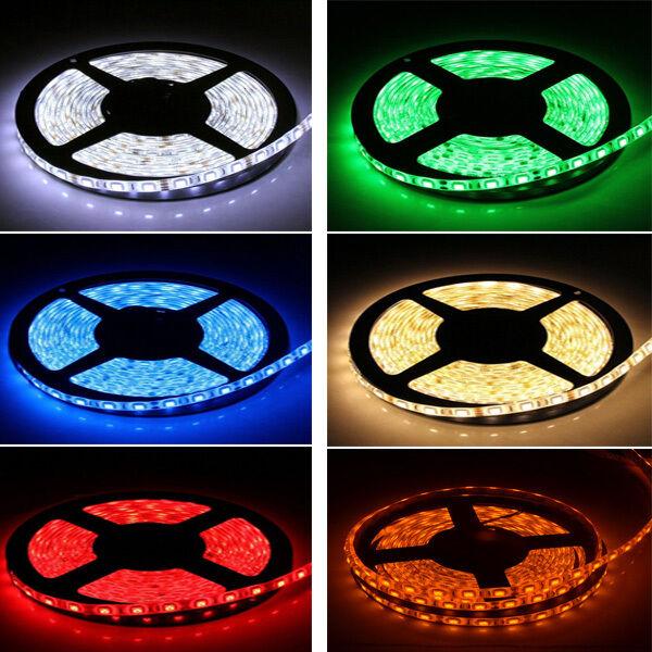 5M Multi-colors SMD 300LEDS 3528 5050 5630 7020 IP33/IP65 LED Strip 12V DC