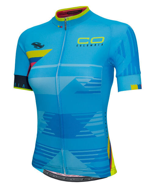 2017 Suarez Colombian Collection​  Women's Short Sleeve Cycling Jersey in bluee