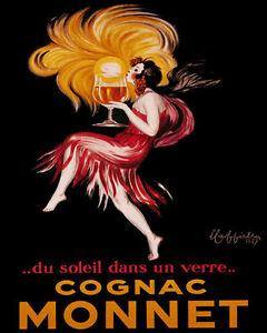 POSTER COGNAC MONNET SUN IN A GLASS FRENCH WOMAN KISS SUN VINTAGE REPRO FREE S/H