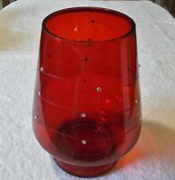 Crimson Sparkle Hurricane Pillar Holder Christmas Partylite In Box