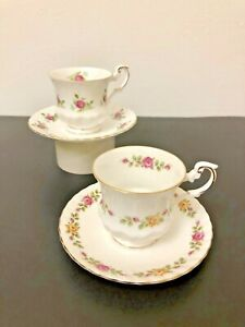 Elizabethan-Pink-Roses-Teacups-and-Saucers-2-Sets