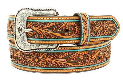 Ariat Western Mens Belt Leather Floral Embossed Turquoise Edge Tan A1027808