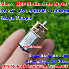 Dc 3v 6v 100rpm N20 Mini Full Metal Gearbox Gear Motor Low Speed Diy Car Robot