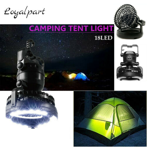 2 In 1 Tent Lamp Portable LED Camping Light W//Ceiling Fan Outdoor Flashlight