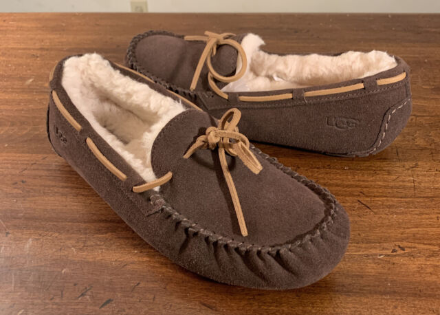 UGG OLSEN ESPRESSO, NEW SUEDE MOCCASIN STYLE MEN'S SLIPPERS SIZE 8, 1003390