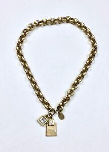 Dyrberg-Kern-Gold-Circle-Link-Chain-Necklace-LIBERTE-Pendant-Crystal-Rhinestone