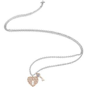 selezione premium d5ca7 7cbcf Dettagli su Collana Guess Love Keys UBN83074 Cuore e Chiave