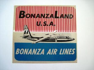 Vintage-034-Bonanza-Air-Lines-034-Sticker-w-Picture-of-the-Plane