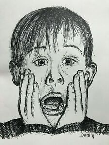 Original Macaulay Culkin Home Alone Ink Drawing Signed Dated Iconic Expression