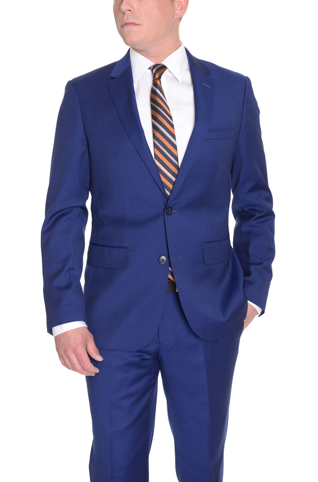 Private Label Schmal Fit Feststoff Königsblau Zwei Knöpfe Wolle Anzug mit