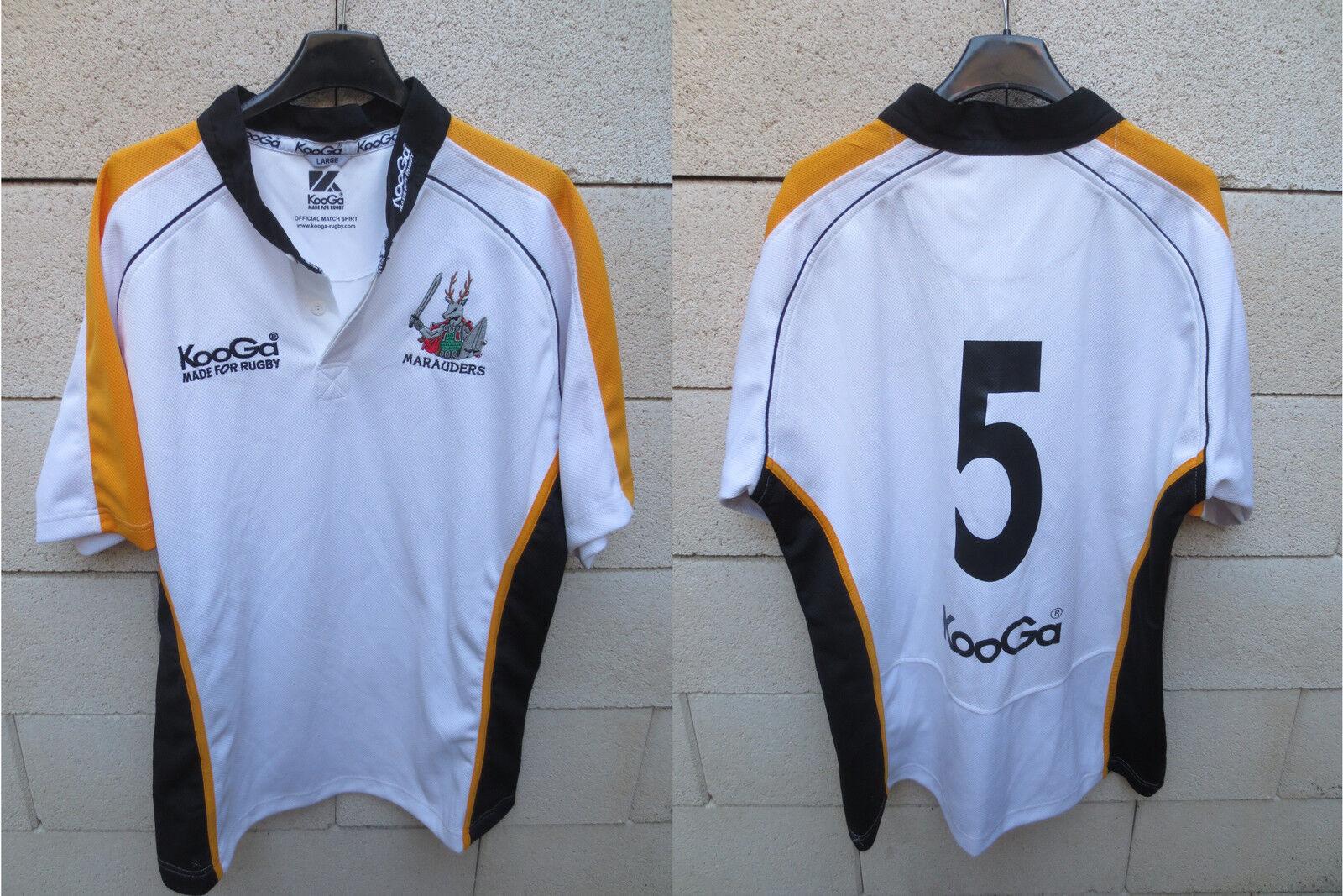 Maillot rugby porté n°5 WOODEN SPOON MARAUDERS Kooga official match worn shirt L