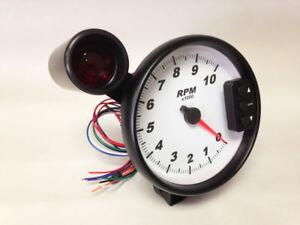 5-034-C2-White-Pedestal-Tachometer-Peak-Recall-Shift-Light-Black-Bezel-3296BLK