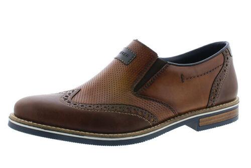 Para hombres Cuero Marrón /& Rieker 13560 tan Slip On Perforado Diseño Brogue Zapatos