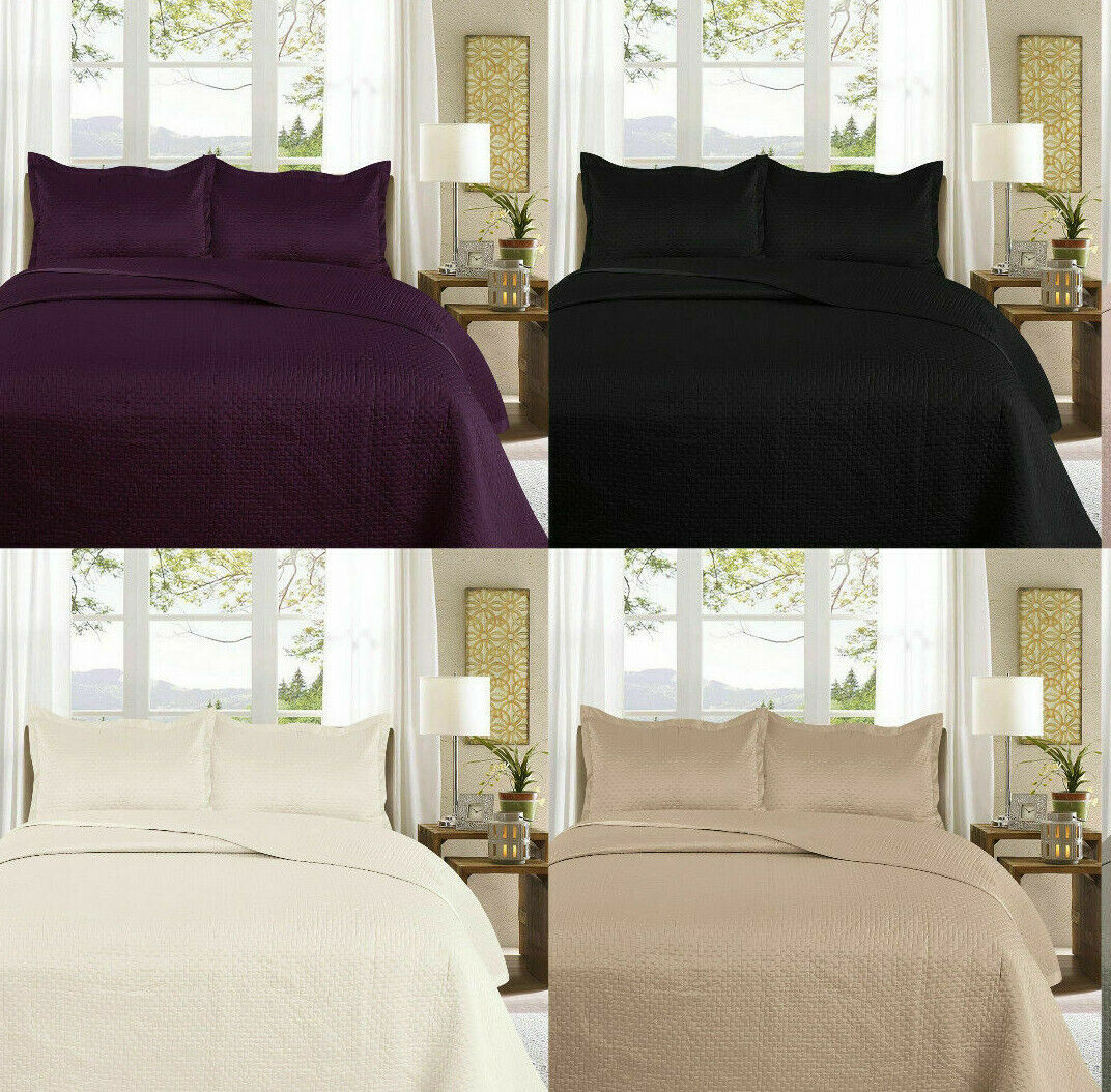 Luxury SAMPHIRE 3pc Quilt Soft Bedspread Set with Pillow Covers Double King Size