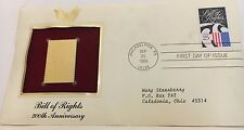 "22 kt Gold Replicas of U S STAMPS  ""BILL OF RIGHTS""  SEPT 1989"