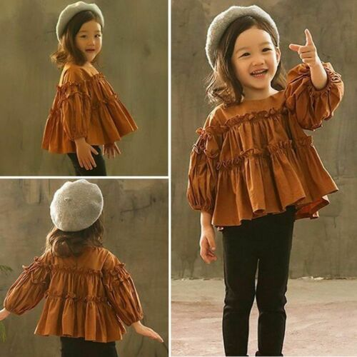 Newest Toddler Baby Girls Ruffle Long Sleeve Tops Clothes Pants Leggings Sweet