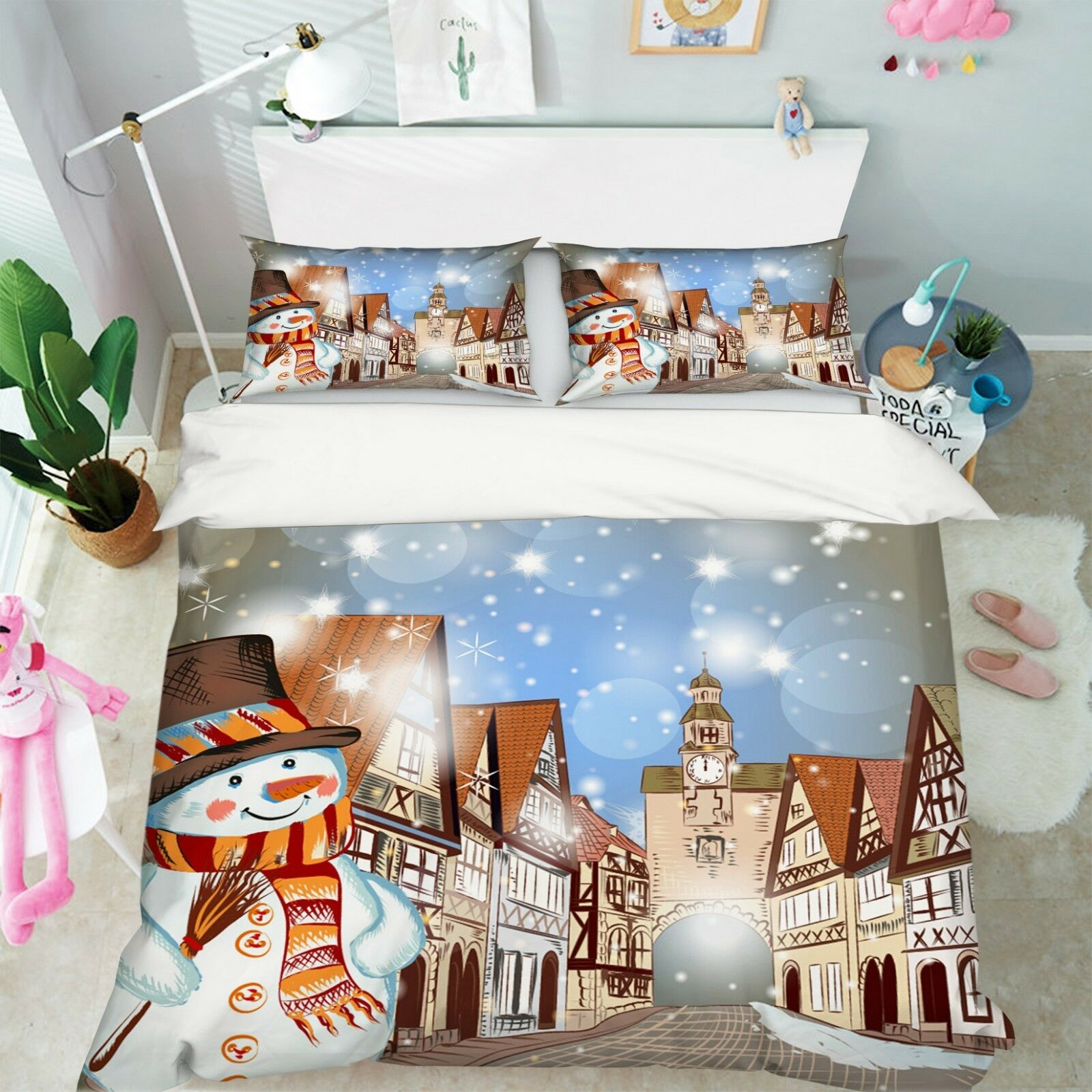 3D Christmas Xmas Church 9 Bed Pillowcases Quilt Duvet Cover Set Single Queen UK