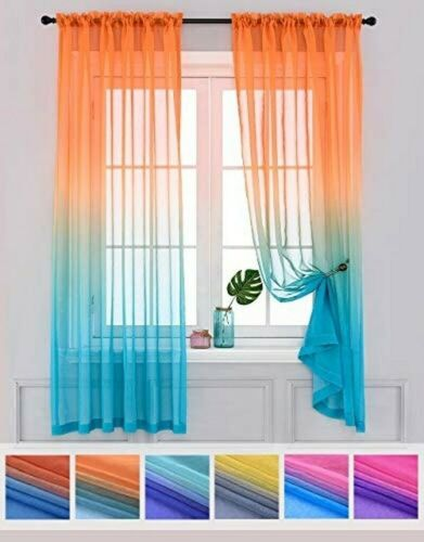 2 Panels Semi Bedroom Ombre Curtains Drapes Living Room Kids Kitchen Window